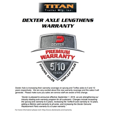Dexter Axle Lengthens Warranty